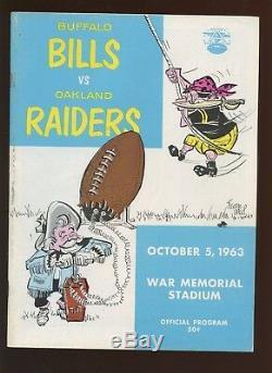 October 5 1963 AFL Program Oakland Raiders at Buffalo Bills EX