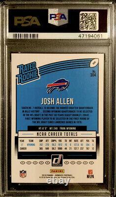 POP 11 PSA 10 RC Josh Allen 2018 Donruss Rated Rookie BLUE PRESS PROOF #304 RARE
