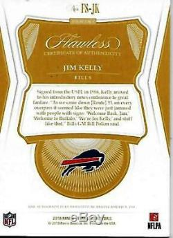 Rare 1/3 Jim Kelly Signed 2018 Panini Flawless Sapphire Cardfootball Hof Auto