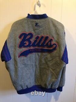 Rare VINTAGE STARTER Buffalo BILLS Wool Jacket Coat Retro NFL Football Large L