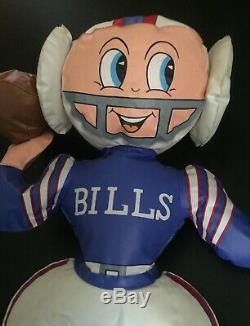 Rare Vintage Buffalo Bills Football Blow Up Doll Standing Buffalo Helmet