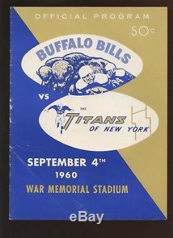 September 4 1960 AFL 1st Season Program New York Titans vat Buffalo Bills