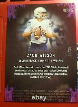ZACH WILSON 2021 Wild Card Matte RED HOT ROOKIE GOLD ON CARD AUTO #'D 19/35