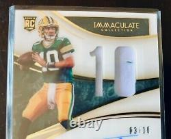 #d 03/10 Immaculate GOLD Jordan Love RC Rookie SSP Auto 2020 RPA Jersey Patch